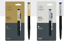 PARKER BETA PREMIUM GOLD & SILVER CT ROLLER BALL PEN - BLUE INK, PACK OF 2
