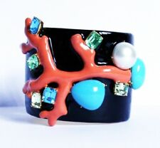 KJL Kenneth Jay Lane Stamped Black Enamel and Coloured Crystal Cuff Bracelet