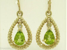 E032 Genuine 9ct Solid Yellow GOLD NATURAL Peridot & Diamond Tear-Drop EARRINGS