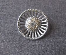 New listing Antique Clear Rhinestones Filigree Silvered Metal Large Flower Button #A