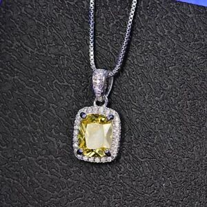ZARD Yellow Cubic Zirconia Emerald-Cut Halo Pendant Sterling Silver Necklace
