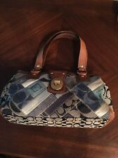 Authentic Coach Signature Denim Patchwork Jacquard Satchel Bag Purse #12216