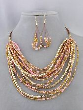 Layered Pink and Gold  Bead Necklace Set Brown Cord  Fashion Jewelry NEW