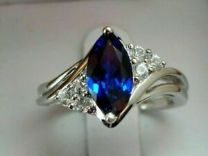 3CT Marquise Cut Blue Sapphire Beautiful Engagement Ring 14K White Gold Finish