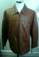 Men's Roundtree & Yorke Tan Brown Leather Bomber Jacket Coat NWT Size XL