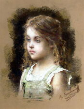 Oil painting Alexei Alexeivich Harlamoff - Young Girl in a Green Tunic no framed