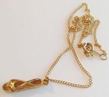 collier pendentif rétro couleur or chausson de dance ballerine relief 305