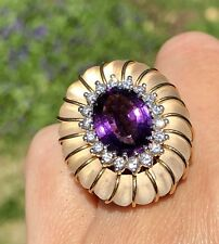 Certified $7500 HUGE Amethyst Diamond Halo 14K Yellow Gold Carved Vintage Ring