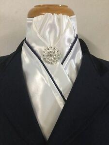 HHD Custom White Satin Dressage Stock Tie Navy Piping Free Rhinestone Stock Pin