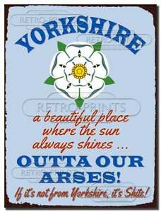 YORKSHIRE FUNNY METAL WALL SIGN PLAQUE humorous kitchen bar cafe man lady cave