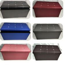 Classic Large Folding Faux Leather Ottoman Foot Stool Pouffe Seat Storage Box