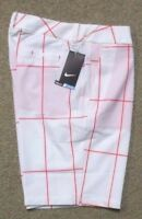 Nike sz 4  Women's Modern Rise Plaid GOLF Shorts NEW  725767  696 White & Red
