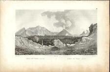 Stampa antica VESUVIO veduta del cratere Napoli 1834 Old antique print Engraving