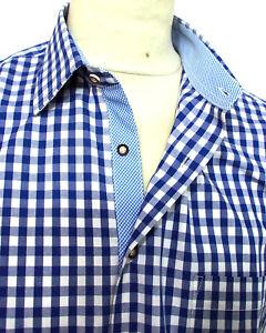 Trachtenhemd blau weiss kariert Baumwolle  XS bis 5XL Klassiker Neues Design