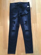 NWT Flying Money Jeans Juniors Black Skinny Stretch Distressed Size 30 B9173