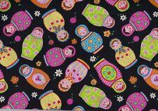 Black Matryoshka Russian Doll Fat Quarter Fabric