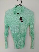 Women's Top Size Small Mint Green Long Sleeve Stretchy Buttons