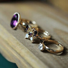 Stone Butterfly Stack Simple Knuckle Cute Gift Band Ring Midi Finger 3pcs/set