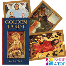 GOLDEN TAROT DECK CARDS ORACLE ESOTERIC TELLING KAT BLACK ILLUSTRATED BOOK