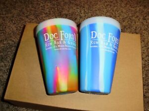 2 SILIPINT 16OZ RUBBER TRAVEL GLASSES CUPS DOC FORD'S FLORIDA RUM BAR GRILL
