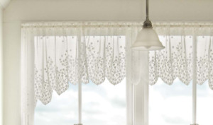 """Heritage Lace White BLOSSOM Window Swag Pair 48""""W x 22""""L - Made in USA!"""