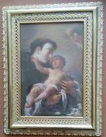 Quadretto di S. Antonio di Padova con cornice dorata in plastica 19,2 x 14,8 cm