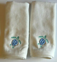 Fingertip Towels Turtle Embroidered Guest Bathroom Summer Beach House Set of 2