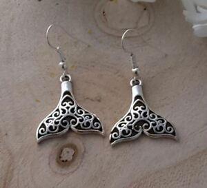 Mermaid Tail Earrings, Silver Whale Tail Earrings, Alternative Womens Earrings