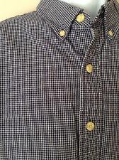 Men's Eddie Bauer XL Micro Checks Button Front L/S Shirt Blue White Cotton