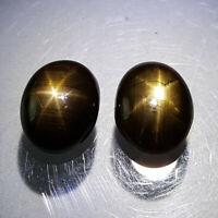 6CT Unheated Black Star Sapphire 6 Rays Natural Gemstone Oval Cabochon 2 PCS