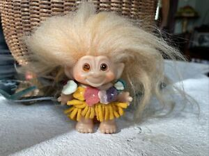 Vintage Thomas Dam Troll Original Hawaiian Felt Clothes Orange Hair Amber Eyes