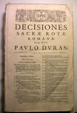 1639 DECISIONES SACRAE ROTAE LUGDUNI DROIT ROMAIN LIVRE OLDBOOK LATIN THEOLOGIE
