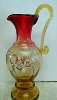 Fenton Glass Gold Amberina At Woodlands Edge Pitcher Historic Collection LE #936