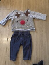Baby Girls Next 3-6 Months Rudolph Oufit Set Christmas Jumper & Jeggings
