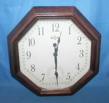 """Analog 12"""" Octagon Wall Clock With Built-In Thermometer"""