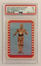 1977 TOPPS STAR WARS STICKER CARD - SERIES 4: GREEN - #37 DROID C-3PO - PSA 5