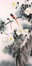 100% ORIENTAL ASIAN ART CHINESE FAMOUS WATERCOLOR PAINTING-Bird&Flowers