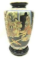 Vintage Japanese Satsuma Cloisonne Style Porcelain Vase Table Lamp Base Gold