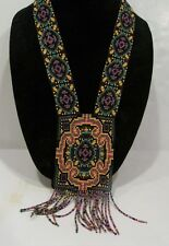 handmade beaded multi- color oriental cross design pendant necklace