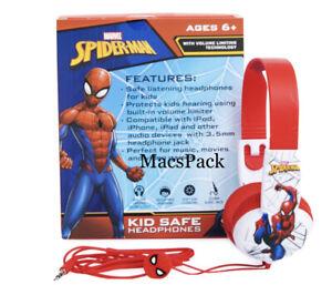 Spider Man Kid Safe Wired Headphones Stickers Birthday Gift Spider-Man