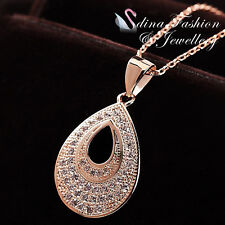 18K Rose Gold Plated Simulated Diamond Studded Hollow-Out Pear Drop Necklace