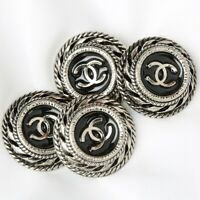 Chanel Buttons 4pc CC Silver 22.5mm Vintage Style 4 Buttons unstamped AUTH!!!