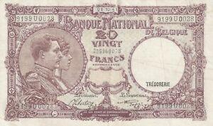 Vintage Banknote Belgium 1941 20 Francs Pick 111 111(2) US Seller