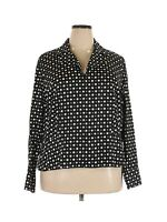Jones New York Signature Women's Blouse Top 3X Plus Size Black White Polka Dots