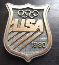 1980 USA Olympic Shield Belt Buckle Rollins Assoc Olympic Committee EUC Brass