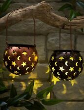 New Pack of 2 Solar Star and Moon Hanging Lanterns