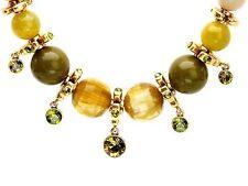 PILGRIM Kette, Collier Perlen oliv grün, Kleeblatt, Swarovski Elemens,vergoldet