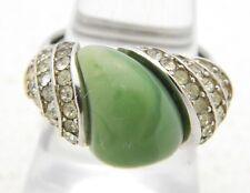 VTG CROWN TRIFARI Silver Tone Art Deco Style Rhinestone Faux Green Jade Ring