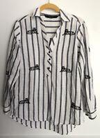 Zara Button Up Tunic Shirt Striped Tiger King Joe Exotic Carole Baskin Costume S