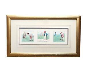 Framed Golfing Print Cartoon Golfer Caricature Gift Golf Wall Art Illustration